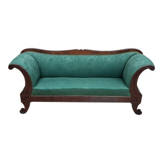 Antique Swedish Biedermeier Sofa Jade Green Velvet Original Upholstery For Sale