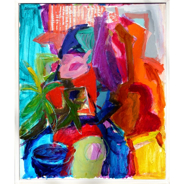 A colorful abstract still life incorporating collage as an integral element. The painting is framed in a simple narrow...