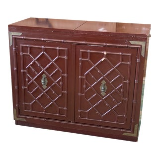 Vintage Campaign Faux Bamboo Rolling Bar Cart Sideboard For Sale