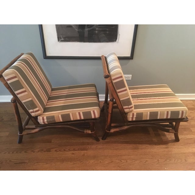 Bamboo Ficks Reed Co. Bamboo & Rattan Slipper Chairs - a Pair For Sale - Image 7 of 11