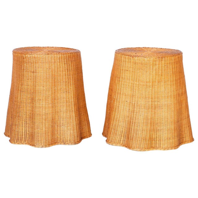 Midcentury Wicker Drape Tables or Stands - A Pair For Sale - Image 9 of 9