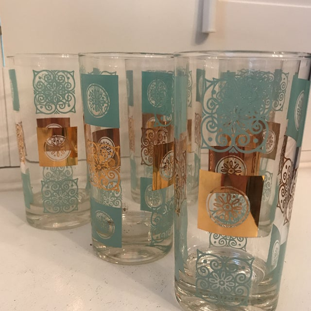 Vintage Mid-Century Aqua and Gold Cocktail Glasses - Set of 6 For Sale - Image 4 of 7