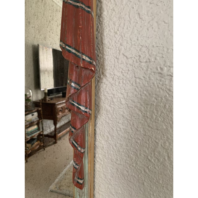 Hollywood Regency Early 20th Century Red Painted Drapery Swag Mirror For Sale - Image 3 of 13