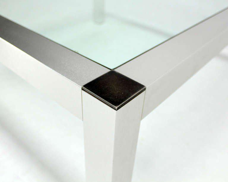 Mid Century Modern Machined Metal Base With Square Top Coffee Table   Image  6