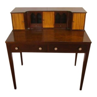 Traditional Solid Mahogany and Satinwood Writing Desk For Sale