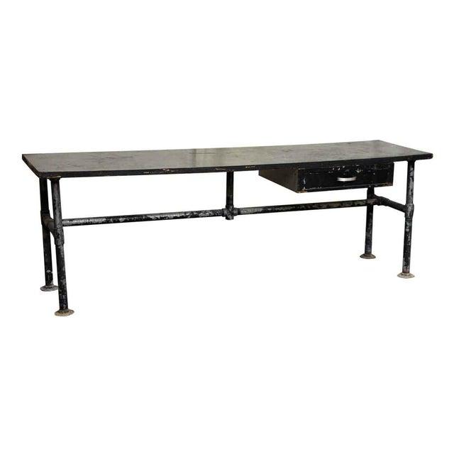 Industrial Wood Top Black Metal Work Table For Sale - Image 3 of 10
