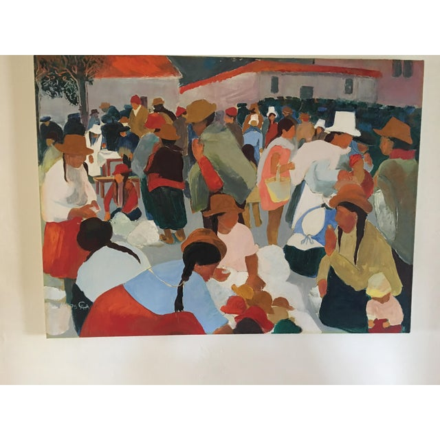 Modern Contemporary Colorful Market Scene Oil Painting - Image 2 of 7