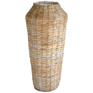 Sculptural Whitewashed Woven Rattan Basket For Sale