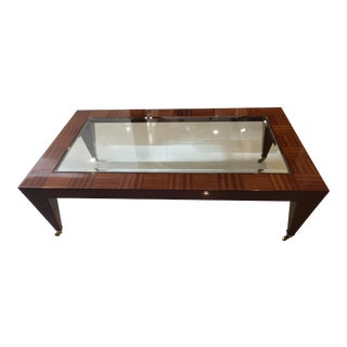 1980s Glass Inlaid in Wood Coffee Table With Brass Roller Feet For Sale