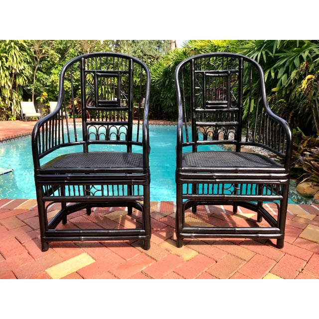 Vintage Brighton Pavilion Chinoiserie-Style Black Lacquered Bamboo and Rattan Chairs- a Pair For Sale - Image 13 of 13
