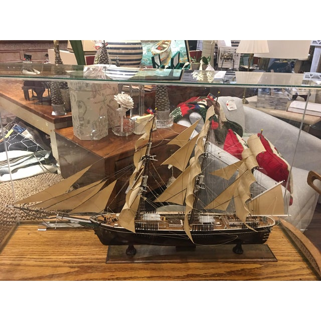1990s Glass Boxed Model Ship For Sale - Image 5 of 5