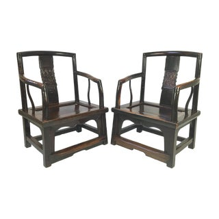 Antique Rosewood Chinese Official's Chairs - Pair
