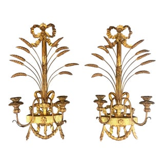 Pair of 1940s Italian Giltwood Wall Sconces, Louis XVI Style For Sale