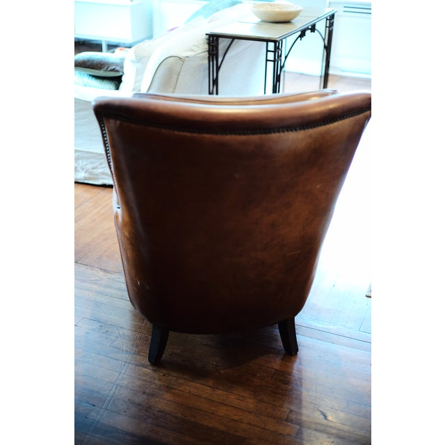 2000s Vintage Shabby Chic Leather Chair For Sale - Image 5 of 7