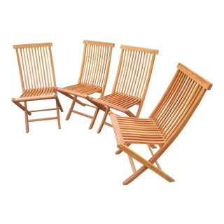Early 21st Century Solid Teak Slat Type Folding Patio Chairs - Set of 4 For Sale