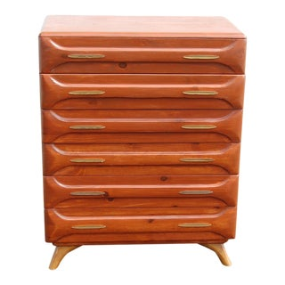 1950s Danish Modern Franklin Shockey Sculptured Pine Dresser For Sale
