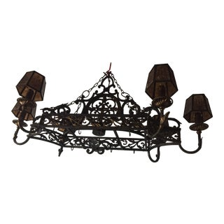 Vintage Wrought Iron Hanging Island Pot and Pan Chandelier For Sale