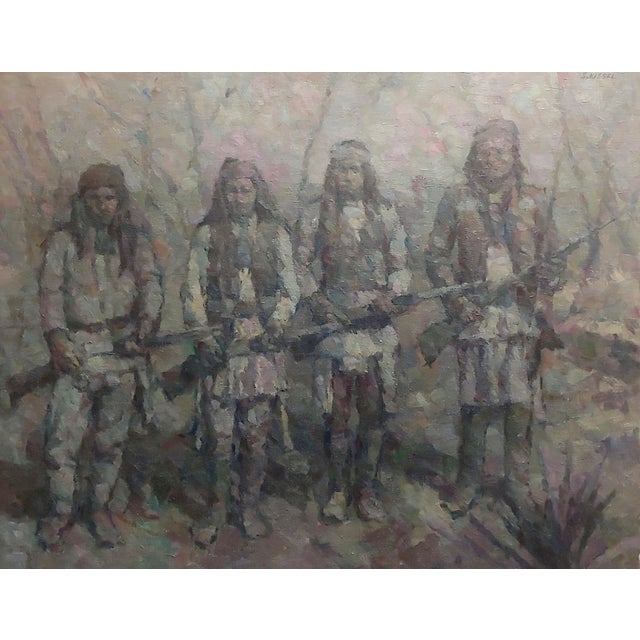 Americana Stevan Kissel - Group of Apache Renegades - Oil Painting For Sale - Image 3 of 8