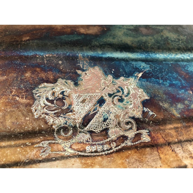 Vintage Silver on Copper Tray For Sale In Charlotte - Image 6 of 8