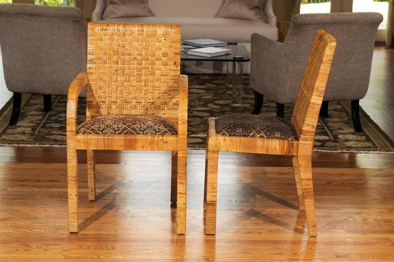 Superb Set Of Ten Rattan Wrapped Dining Chairs In The Style Of Billy Baldwin    Image