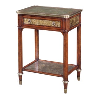 Theodore Alexander 5052-015 Eglomise Decorated Glass & Mahogany Nightstand For Sale