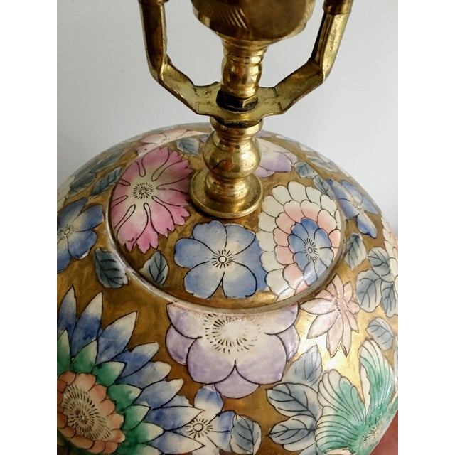 Asian Vintage Chinoiserie Gold Enameled Ginger Jar Table Lamp For Sale - Image 3 of 8