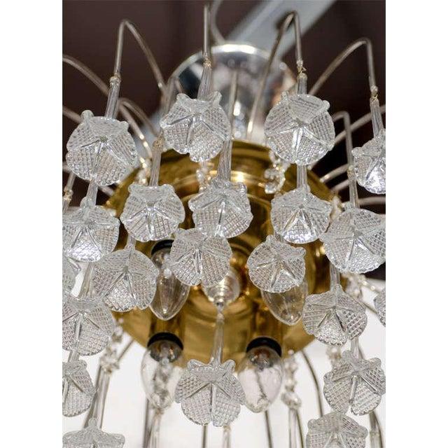 Mid Century Murano Two Tier Handblown Murano Glass Floral Pendant Chandelier - Image 7 of 8