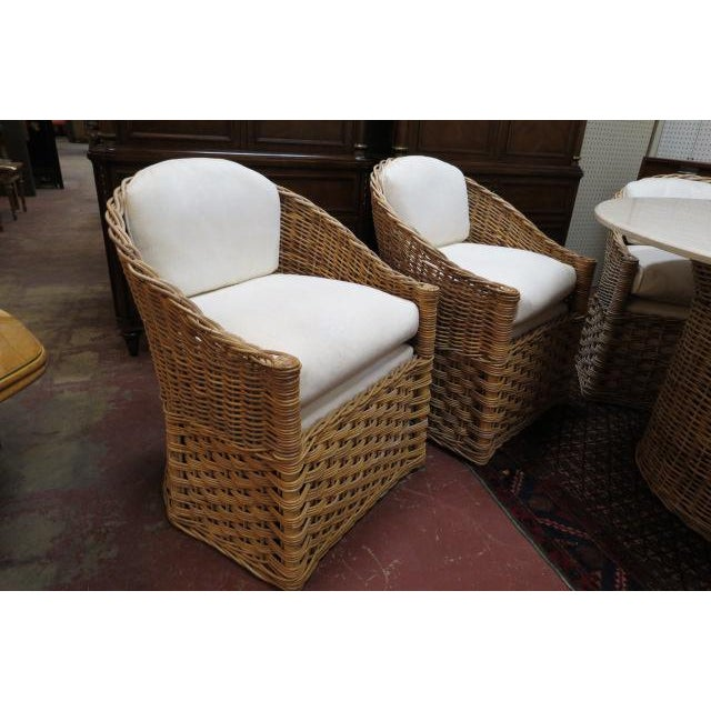 2000 - 2009 Vintage Boho Chic. Wicker Dining Set With Marble Top - 5 Pieces For Sale - Image 5 of 8