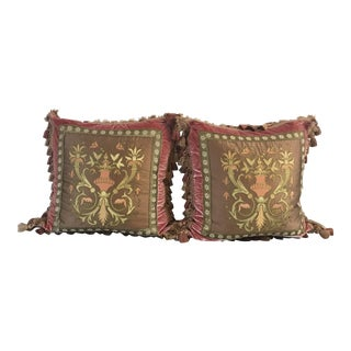 Embroidery Appliqué Silk Velvet Pillows - a Pair For Sale