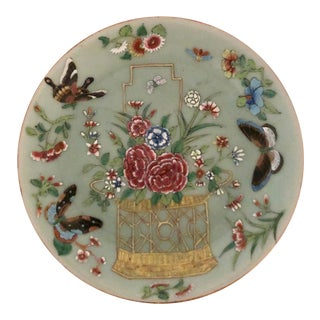 Early 19th C Chinese Celadon Famille Rose Plate For Sale