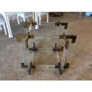 Charles Hollis Jones Vintage CHJ Lucite & Brass Metric Dining Table Base Preview
