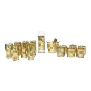 Culver Mid-Century Modern Glass and Gold Painted Barware - Set of 16 For Sale