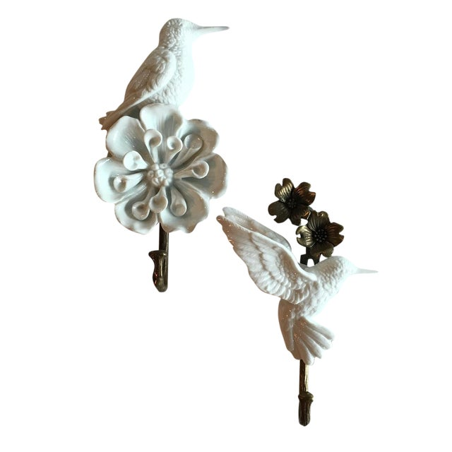 Porcelain & Brass Birds Wall Mount Hooks - Pair - Image 1 of 11