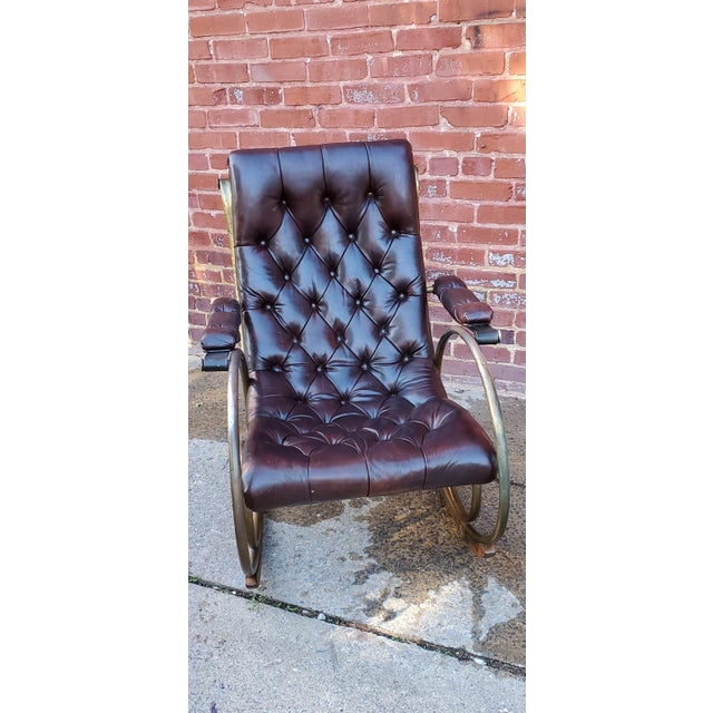 Metal Mid Century Tufted Leather Rocking Chair For Sale - Image 7 of 7
