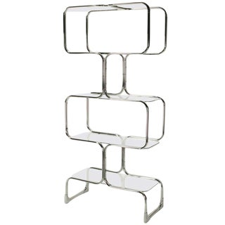 Chromed Steel & Glass Four Shelf Etagere By Tricom, Italia. For Sale