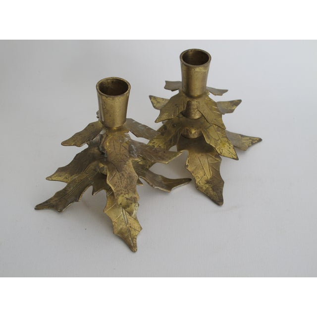 Brass Holly Leaf Candleholders - A Pair - Image 3 of 6