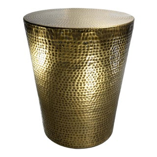Contemporary Izmir Antique Brass Hammered Side Table For Sale