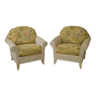 Lexington Henry Link Wicker Club Chairs - A Pair