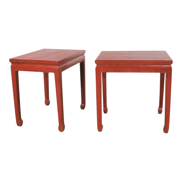 Mid 20th Century Asian Ming Style Chinese Crackle Red Lacquer Rectangular End Tables - a Pair For Sale