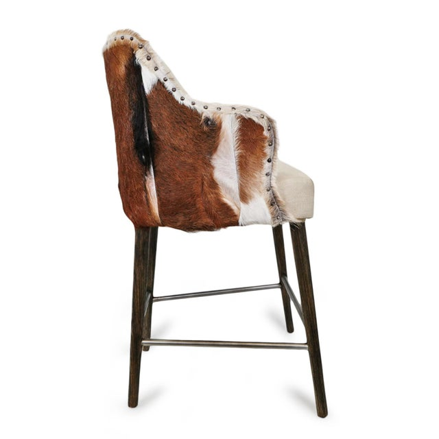 Austin Goat & Linen Counter Stool For Sale In Los Angeles - Image 6 of 9