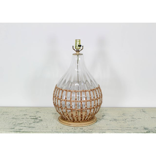 Mid-Century Modern 1970's Glass Table Lamp With Faux Bamboo Motif For Sale - Image 3 of 6