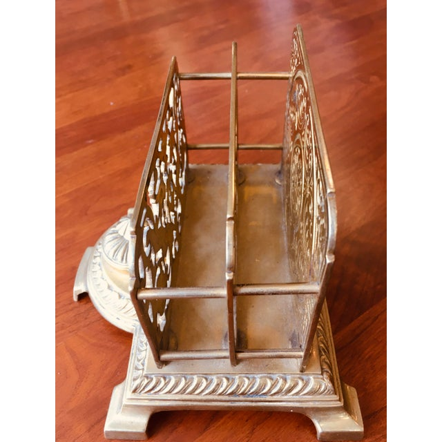 Antique Brass Letter Holder With Inkwell For Sale - Image 4 of 7