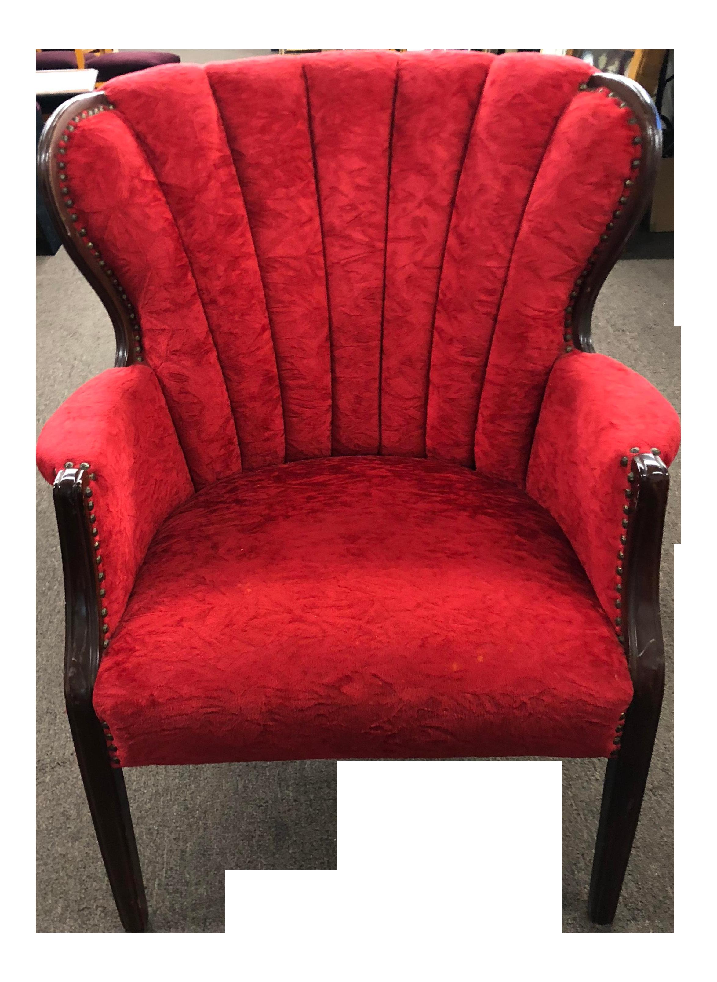 Art Deco Red Velvet Wingback Chair