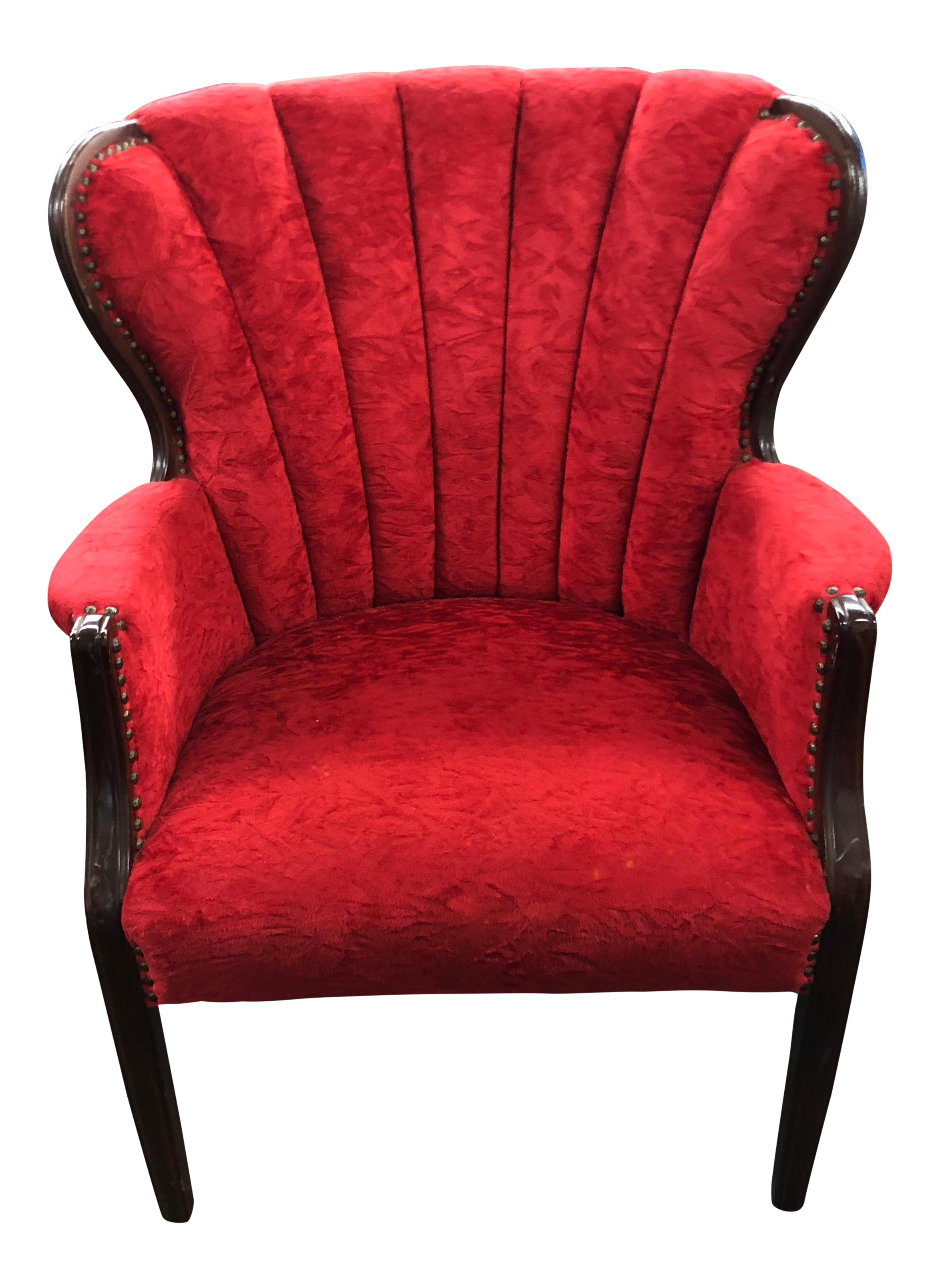 Etonnant Art Deco Red Velvet Wingback Chair