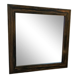Zebrawood Square Mirror With Beveled Edge For Sale