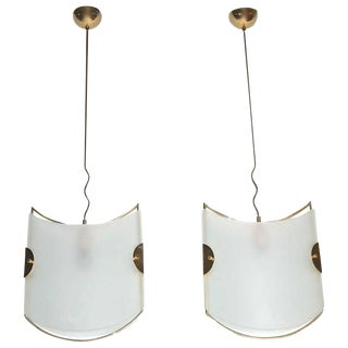 1960s Italian Glass and Brass Pendant Ceiling Lights - a Pair