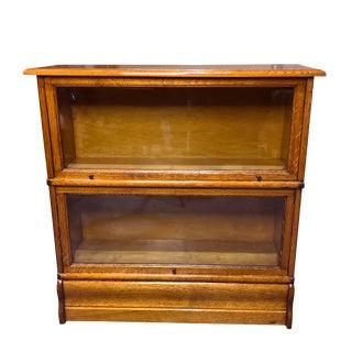 Antique Arts & Crafts Mission Quartersawn Oak 2 Stack Barrister Bookcase For Sale