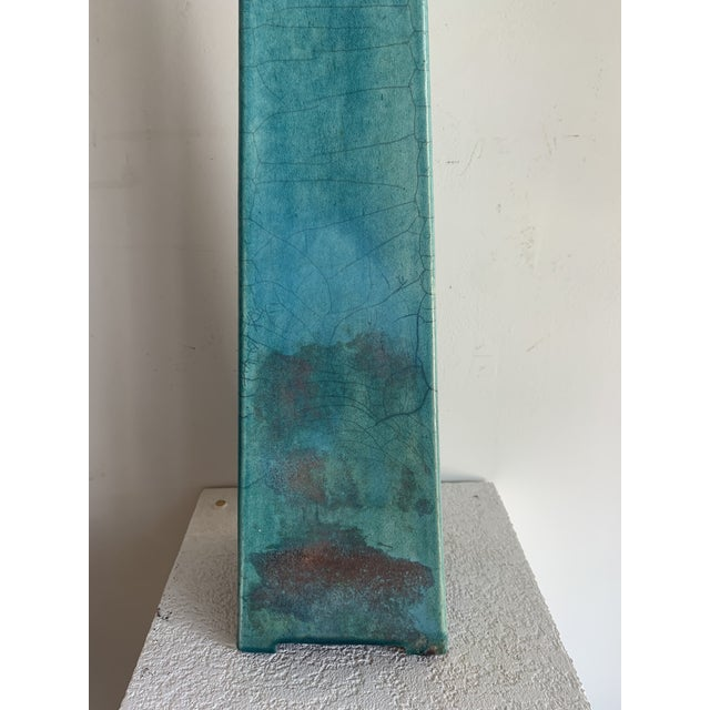 Turquoise Large Vintage Turquoise James Mont Style Raku Pottery Decanter For Sale - Image 8 of 12