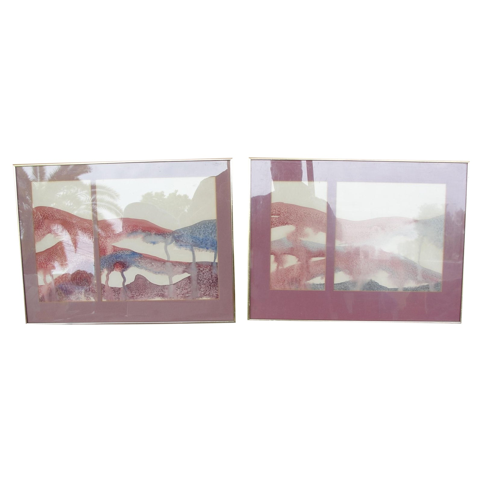 George Caso Abstract Water Color Paintings Pair Chairish