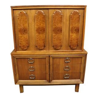Mid Century Italian Style Fruitwood & Burl Chiffonier For Sale